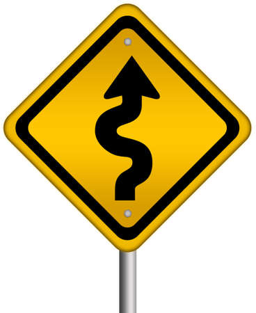 danger ahead: Curvy road sign Stock Photo