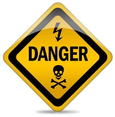 injurious: Se�al de advertencia de peligro  Foto de archivo