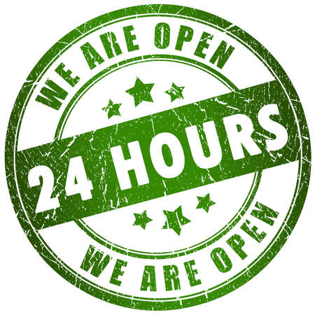 shop opening hours: Open 24 hours Stock Photo