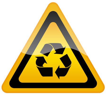 triangular warning sign: Recycling sign Stock Photo
