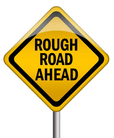 risks ahead: Signo delante de carretera en bruto
