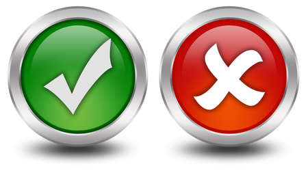 Tick and cross button Stock Photo - 8101094