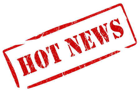 newspaper headline: Hot news stamp
