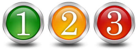 number button: Numbers one two three 1 2 3 Stock Photo
