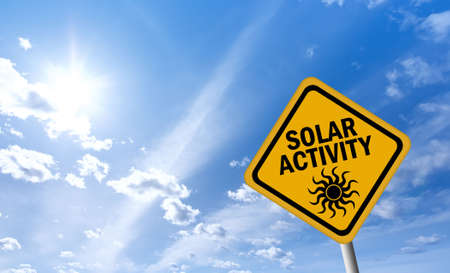 detrimental: Solar activity warning sign Stock Photo
