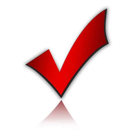 yes check mark: Illustration of red tick Stock Photo