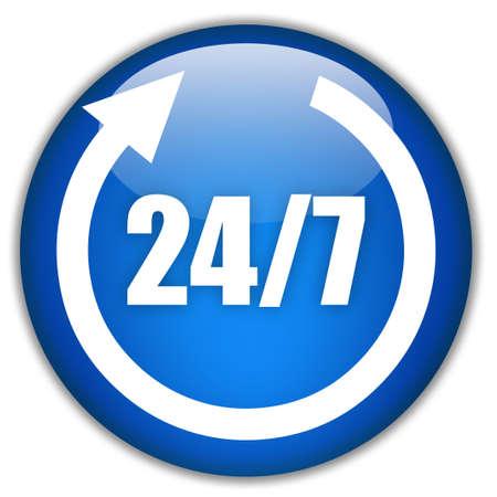 Vierentwintig zeven service teken  Stockfoto