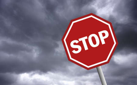 unauthorized: Stop sign Stock Photo
