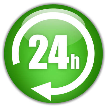 24 hours: Open 24 hours Stock Photo
