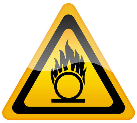 o2: Flammable gas oxygen warning sign