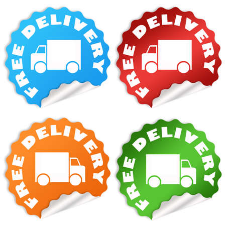 recieve: Free delivery stickers Stock Photo