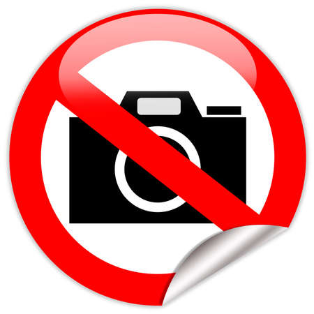 prohibition: No photo camera shiny sign Stock Photo