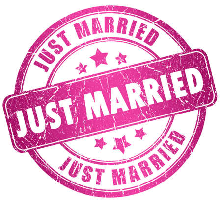 best wishes: Just married stamp Stock Photo