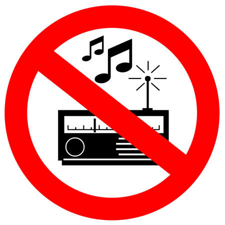 prohibition signs: No music sign