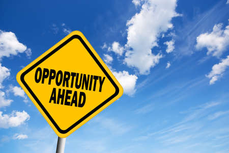career choices: Opportunity ahead sign Stock Photo