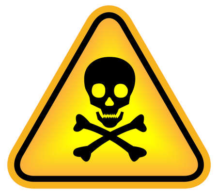 triangular warning sign: Skull danger sign Stock Photo