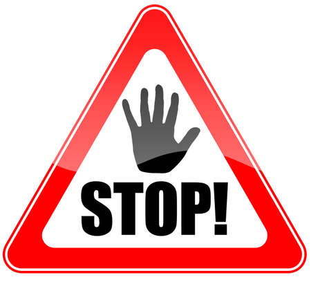 triangular warning sign: Stop sign Stock Photo