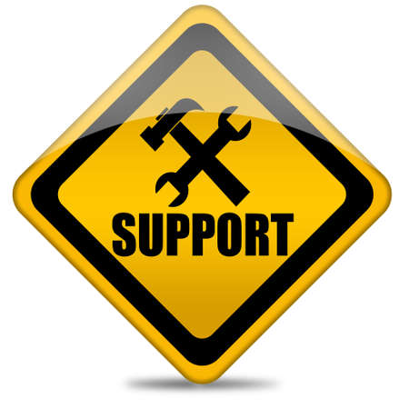 computer problem: Support sign Stock Photo