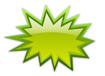 burst background: Green boom icon Stock Photo