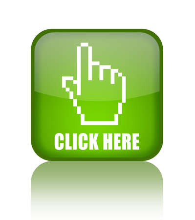 click here: Click here green glass button