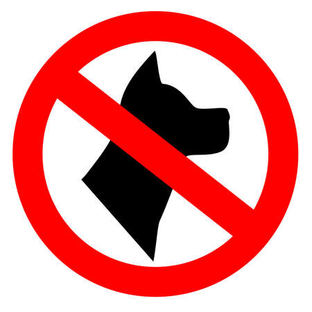 beware: No dogs allowed sign Stock Photo