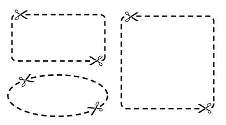 scissors cutting paper: Coupon border set