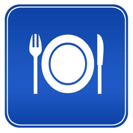 logos restaurantes: Signo de restaurante azul