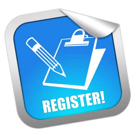 Register now sticker Stock Photo - 9156456