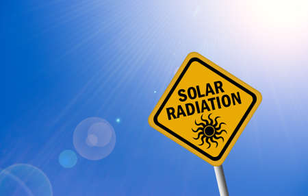sunburnt: Solar radiation warning sign