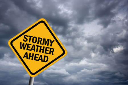 ahead: Stormy weather warning sign Stock Photo