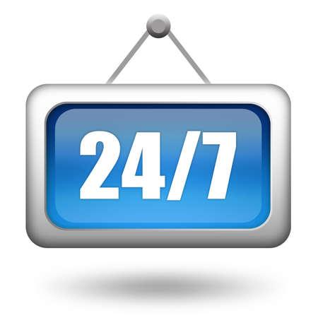 twenty four hour: Twenty four seven sign Stock Photo