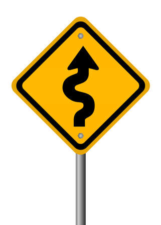 curvy: Curvy road sign Stock Photo