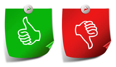 evaluate: Thumb up down stickers Stock Photo