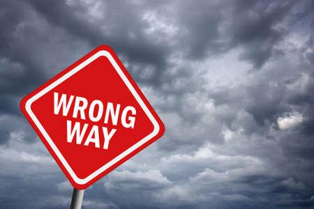 Wrong way road sign photo
