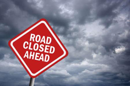Road closed ahead photo