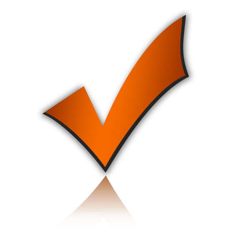 approving: Orange tick mark Stock Photo