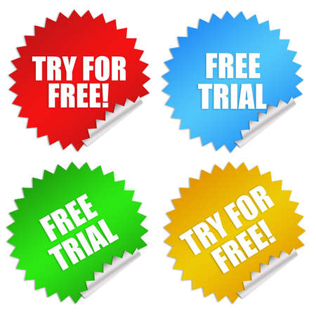 illustration for advertising: Free trial stickers