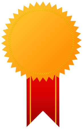 awards ceremony: Award golden medal with ribbon Stock Photo