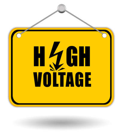 a signboard: High voltage signboard Stock Photo