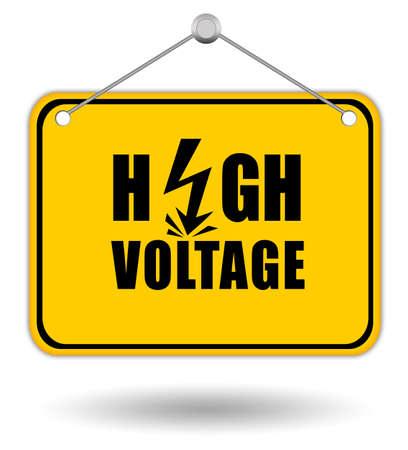 letrero: Panel de señal de alto voltaje Foto de archivo