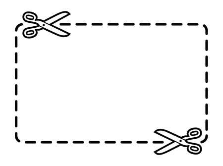 はさみ: はさみでクーポン境界線  イラスト・ベクター素材