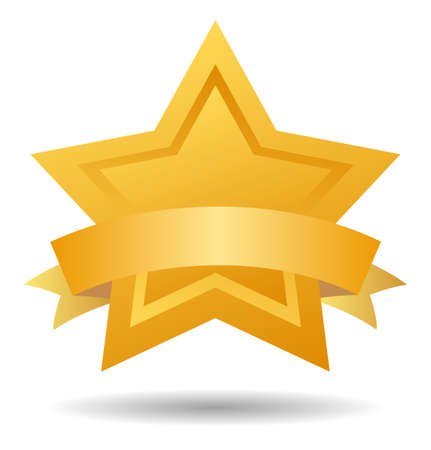 gold star: gold star with ribbon Illustration