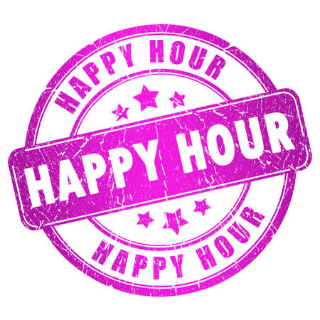 hot announcement: Happy hour stamp Stock Photo