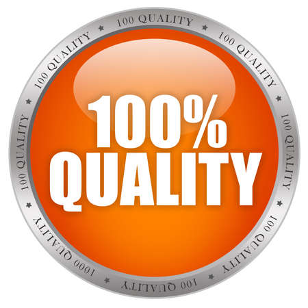 quality seal: 100 quality shiny button Stock Photo