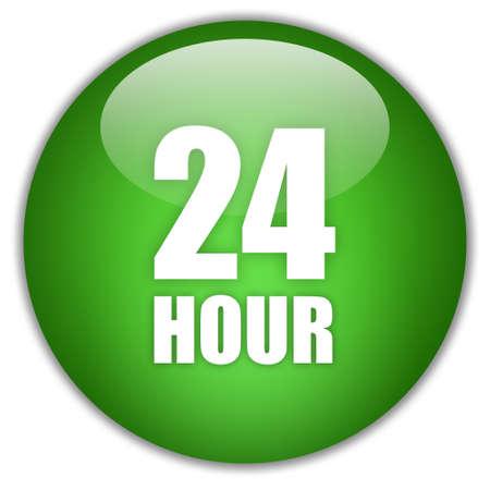 Twenty four hour green icon Stock Photo - 9986633