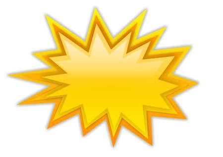 Boom splash star isolated on white Stock Photo
