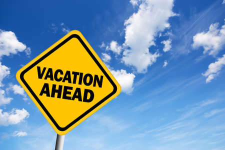 fine weather: Vacation ahead sign Stock Photo