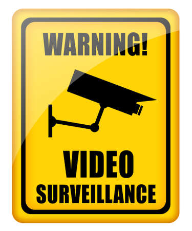 warning attention sign: Video surveillance glossy sign