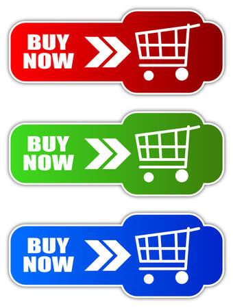 agregar: Comprar ahora botones Vectores