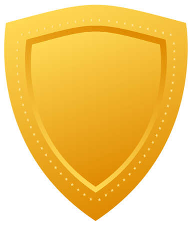 Blank golden shield illustration Vector